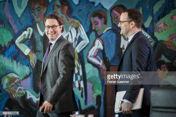 German Transport Minister Andreas Scheuer and German Health Minister Jens Spahn arrive for the weekly cabinet meeting of the Federal Government on...