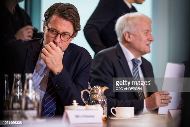 German Transport Minister Andreas Scheuer and German Interior Minister Horst Seehofer attend the weekly cabinet meeting at the Chancellery in Berlin...