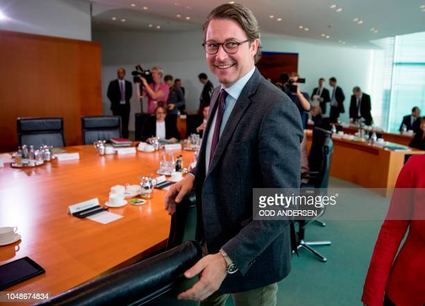 German Transport Minister Andreas Scheuer arrives for the weekly cabinet meeting at the Chancellery in Berlin on October 10 2018