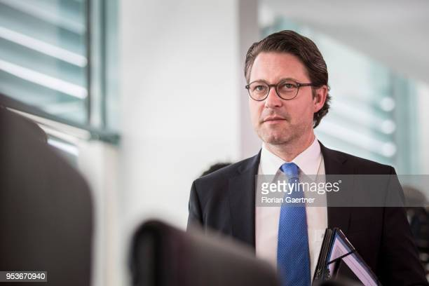 German Transport Minister Andreas Scheuer arrives for the weekly cabinet meeting at the chancellery on May 02 2018 in Berlin Germany