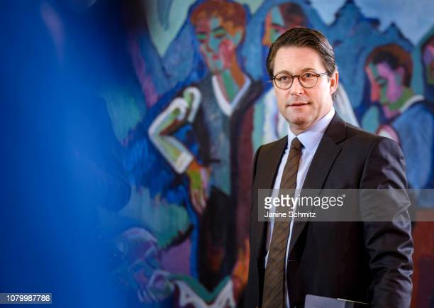 German Transport Minister Andreas Scheuer arrives for the weekly German government cabinet meeting on January 09 2019 in Berlin Germany