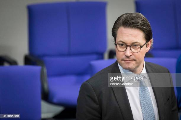 German Transport Minister Andreas Scheuer is pictured before the swearingin ceremony of the new federal government on March 14 2018 in Berlin Germany...