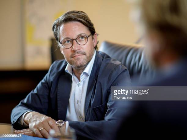 German Transport Minister Andreas Scheuer is pictured during an interview on May 30 2018 in Berlin Germany