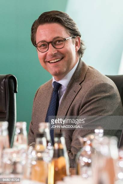 German Transport Minister Andreas Scheuer takes part in a weekly meeting of the German cabinet at the chancellery in Berlin on April 18 2018 / AFP...