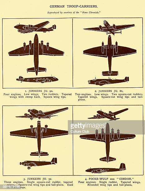WW2 German Troop Carriers Diagrams of Junkers JU 90 Junkers JU 86 Junkers JU 52 and FockeWulf 200 'Condor'