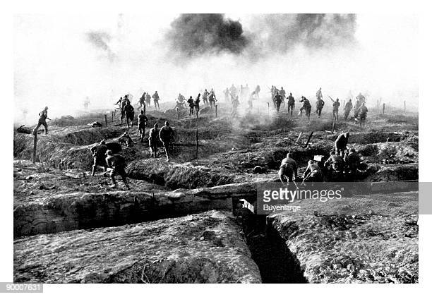 German troops advancing from their trenches.