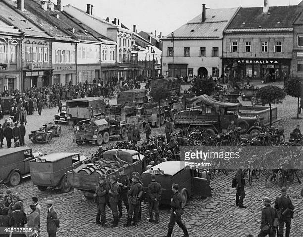 German troops enter Policka in the Sudetenland , as Nazi Germany annexes the region, former Czechoslovakia, October 1938.