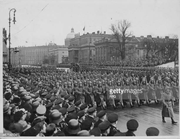 German troops marching in a Nazi rally Berlin Germany 1936