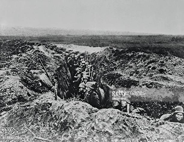 German troops occupying trenches close to the Marne near Chateau Thierry 1918