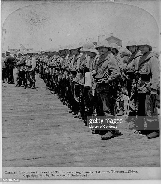 German troops on a dock before heading for Tianjin to provide relief for beleaguered foreign missions during the Boxer Rebellion