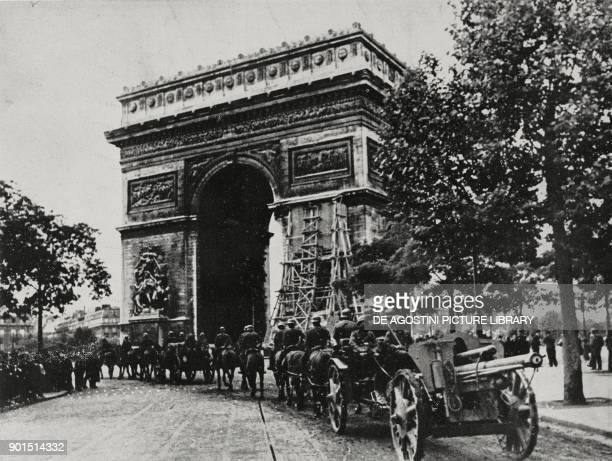 German troops parading down Place de l'Etoile in front of the Arc de Triomphe June 14 Paris France World War II Italian Illustration Year LXVII No 25...