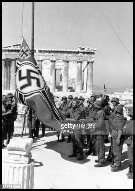 German troops raising the swastika over the Acropolis, 1941.