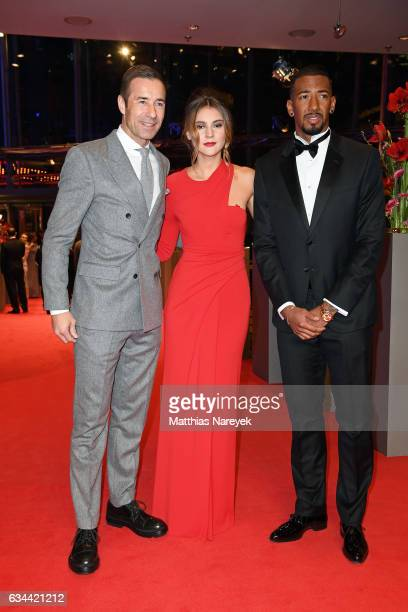 German TV host Kai Pflaume Stefanie Giesinger and German footballer Jerome Boateng attend the 'Django' premiere during the 67th Berlinale...