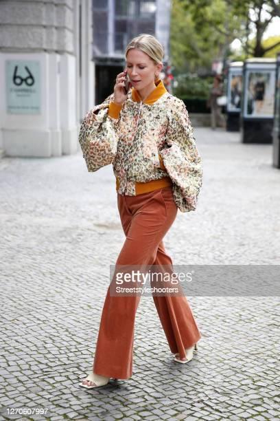 German TV host Tamara von Nayhauss wearing a multicolored metallic leopard print jacket with multicolored Swarovski crystal by Dawid Tomaszewski,...