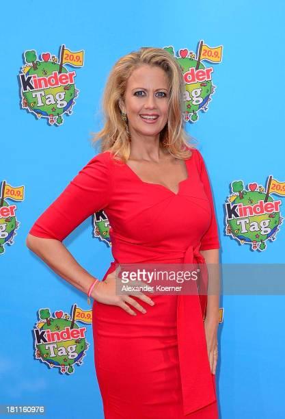 German TV presenter Barbara Schoeneberger attends the red carpet prior the Ferrero kinderTag 2013 event at Heidepark on September 19 2013 in Soltau...