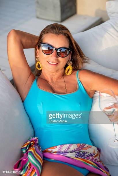 German TV star Claudia Obert poses during an exclusive shooting at W Ibiza Hotel on August 8, 2020 in Ibiza, Spain.