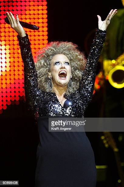 German TVhost and singer Barbara Schoeneberger performs live during her concert at the CCH on November 08 2009 in Hamburg Germany The concert is part...