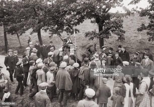 German Uhlan patrolman on the Belgian border, circa 1912.