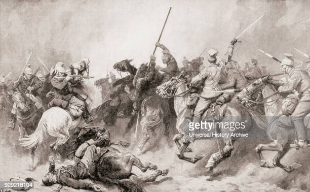 German Uhlans engaging French Dragoons at Perwez, Belgium during WWI. From Illustrierte Geschichte des Weltfrieges1914/15.