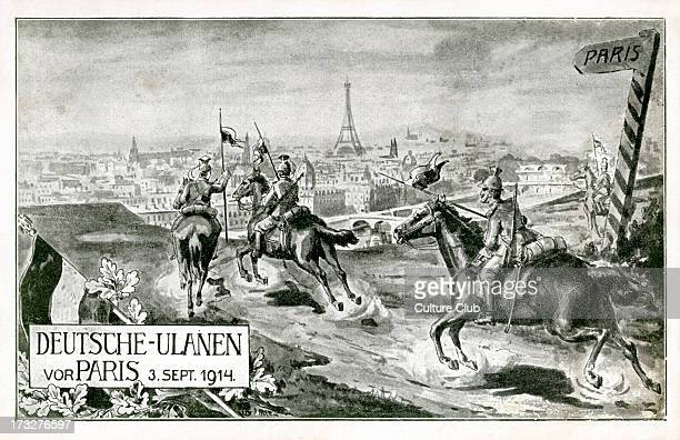 German Uhlans on the outskirts of Paris 3 September 1914 during World War I Polish light cavalry armed with lances sabres and pistols In 1914 the...