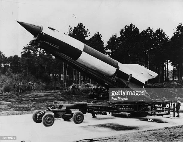 German V-2 rocket ready for launching at Cuxhaven in Luneburg district, Lower Saxony.