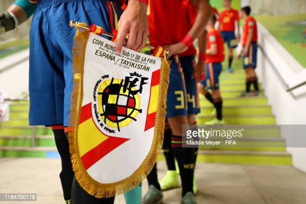 German Valera of Spain holds a pennant in the tunnel before the FIFA U17 World Cup Brazil 2019 group E match between Spain and Tajikistan at Estádio...