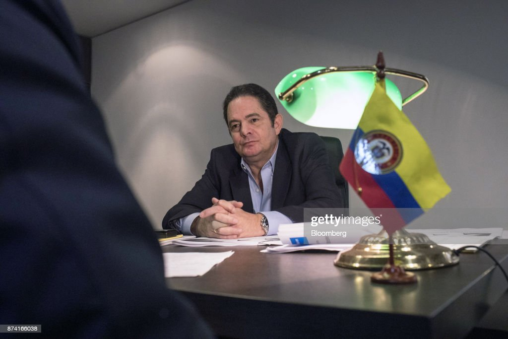 German Vargas Lleras, former Colombian vice president and Radical Change party presidential candidate, listens during an interview at his office in Bogota, Colombia, on Thursday, Nov. 2, 2017. Lleras has proposed corporate tax cuts, accompanied by a crackdown on tax evasion. Photographer: Nicolo Filippo Rosso/Bloomberg via Getty Images