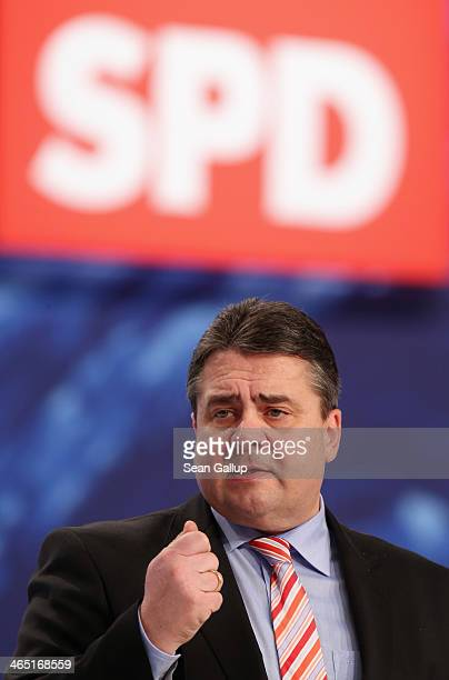 German Vice Chancellor and Economy and Energy Minister Sigmar Gabriel, who is also Chariman of the German Social Democrats , speaks at a federal...