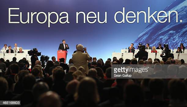 German Vice Chancellor and Economy and Energy Minister Sigmar Gabriel, who is also Chariman of the German Social Democrats , speaks under a bslogan...
