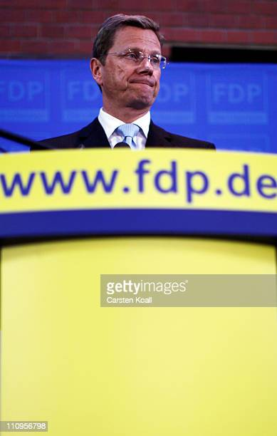 German Vice Chancellor and Foreign Minister Guido Westerwelle and leader of the German Free Democrats political party speaks to the media the day...