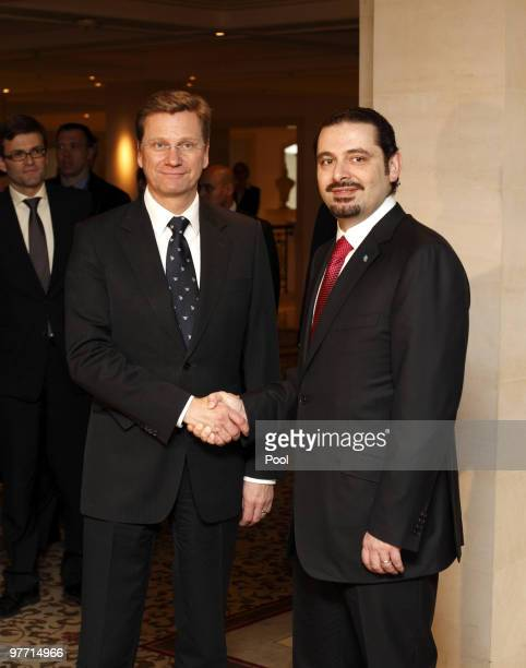 German Vice Chancellor and Foreign Minister Guido Westerwelle welcomes Lebanese Prime Minister Saad alHariri at Hotel Adlon on March 15 2010 in...