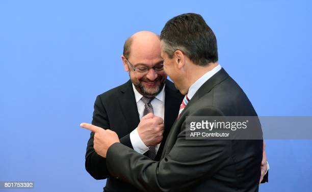 German Vice Chancellor and Foreign Minister Sigmar Gabriel and Martin Schulz leader of Germany's social democratic SPD party and candidate for...