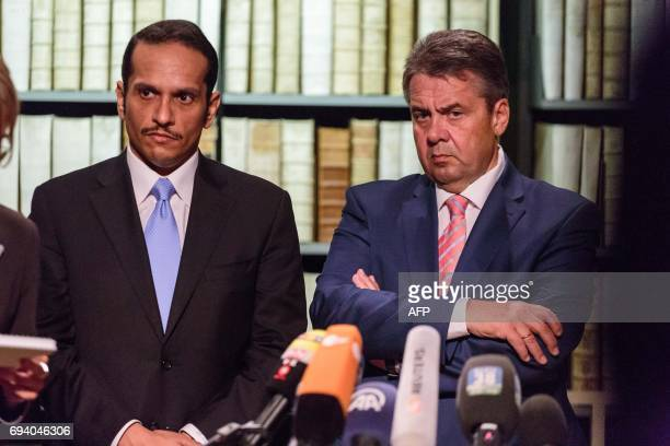 German Vice Chancellor and Foreign Minister Sigmar Gabriel and Qatari Foreign Minister Mohammed bin Abdulrahman bin Jassim alThani attend a press...