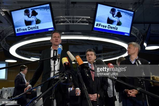 German Vice Chancellor and Foreign Minister Sigmar Gabriel CEO of German media giant Axel Springer Mathias Doepfner and editor in chief of German...