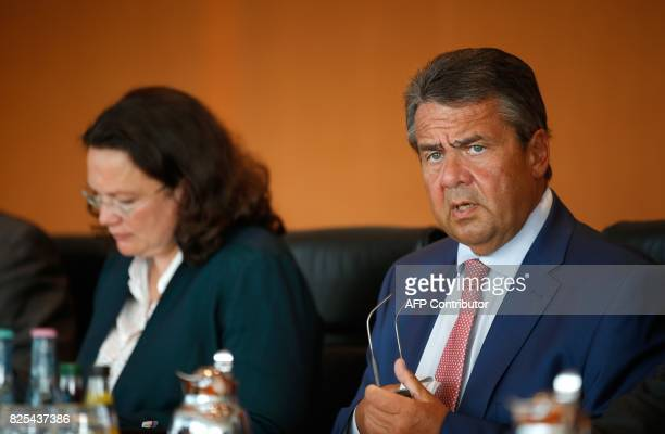 German Vice Chancellor and Foreign Minister Sigmar Gabriel leads the weekly cabinet meeting on August 2 2017 at the Chancellery in Berlin / AFP PHOTO...