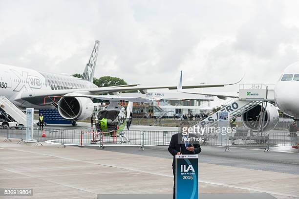 German Vice Chancellor Economy and Energy Minister Sigmar Gabriel gives a speech at the International Aerospace Exhibition in Schoenefeld near Berlin...