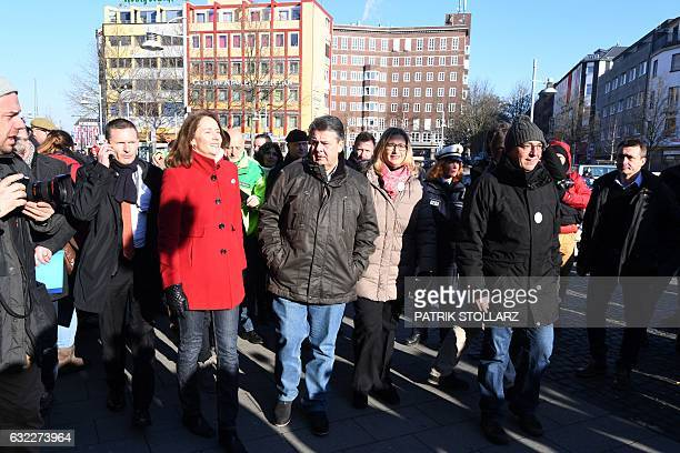 German Vice Chancellor Economy and Energy Minister Sigmar Gabriel and his social democratic SPD party's secretary general Katarina Barley take part...