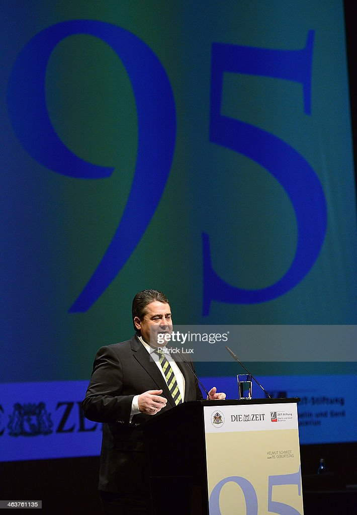 German vice chancellor Sigmar Gabriel speaks at a celebration hosted by Die Zeit newspaper on the occasion of Schmidt's 95th birthday at the Thalia theater on January 19, 2014 in Hamburg, Germany. Schmidt, a Social Democrat (SPD), was Chancellor of West Germany from 1974 to 1982.