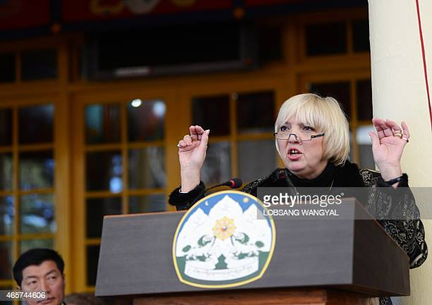 German Vice President of the Bundestag Claudia Roth speaks in support of the Tibetan cause as the Sikyong or Prime Minister of the exiled Central...