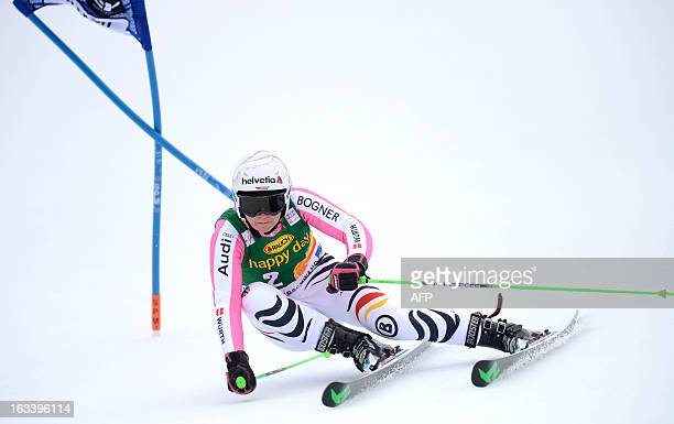 German Viktoria Rebensburg competes during the FIS World Cup Women's Giant Slalom competition in Ofterschwang southern Germany on March 9 2013 AFP...