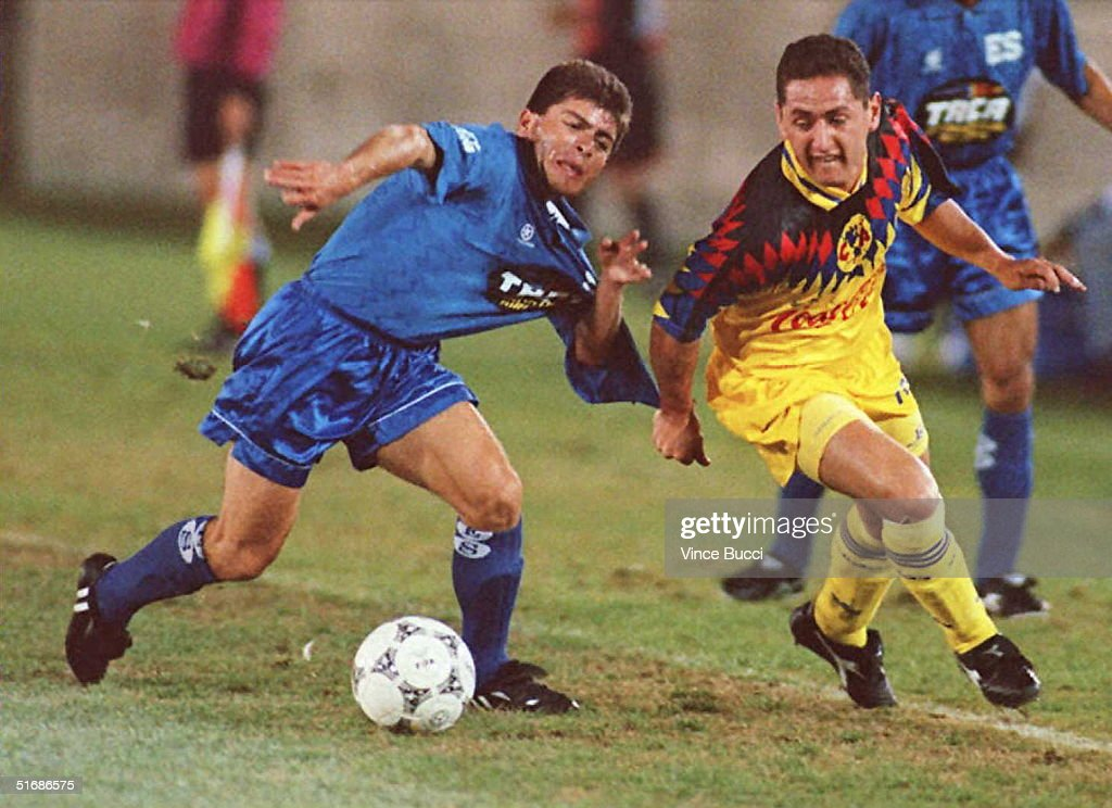 2bceb0cfce2 German Villa of Mexico s Club America soccer team pulls the jersey ...