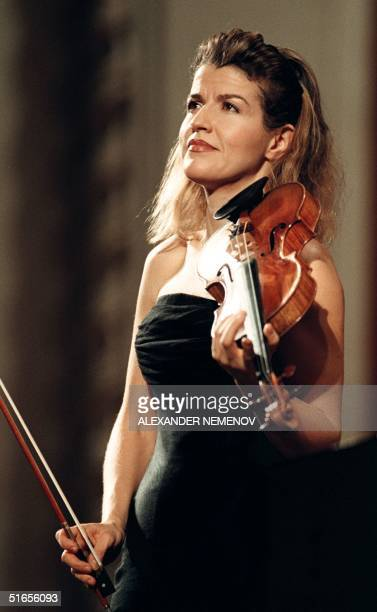 German violinist AnneSophie Mutter finishes her performance at the Shostakovich Prize awarding ceremony of which she is this year's laureate in...
