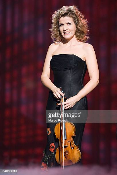 German violinist AnneSophie Mutter poses during the Jose Carreras Gala on December 18 2008 in Leipzig Germany The Jose Carreras Gala is an annual TV...