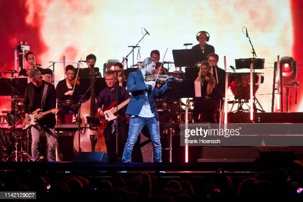 German violinist David Garrett performs live on stage during a concert at the Mercedes-Benz Arena on May 7, 2019 in Berlin, Germany.