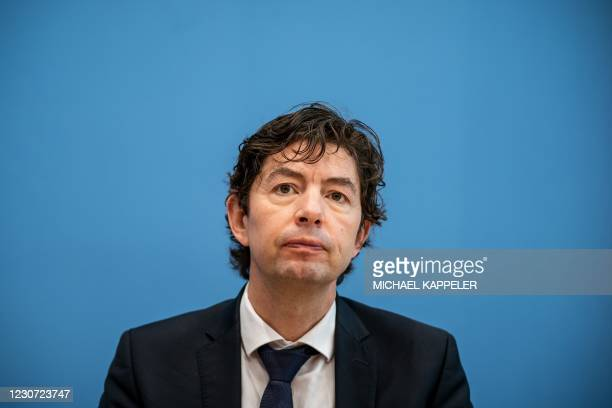 German virologist and Director of the Institute for Virology at Berlin's Charite University Hospital Christian Drosten speaks during a news...