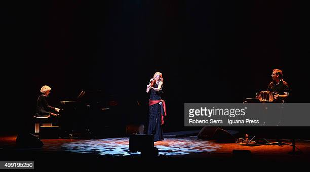 German vocalist Ute Lemper performs her 'Last Tango in Berlin' with Vana Gerig on piano and Victor Villena on bandoneon for Bologna Festival at Arena...