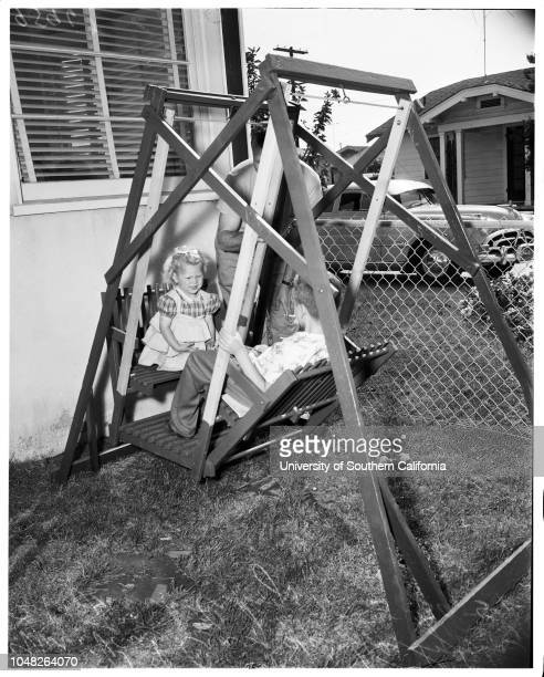 German war orphan, 30 May 1952. Sylvia Blanka Schoenhammer Craig -- 2 years;Mrs Paul Craig;Frank Craig -- 7 years;Sol Wolkoff ;'Tippie', family...