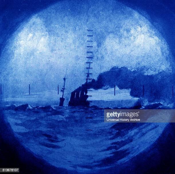 German warship viewed through a Royal Navy submarine periscope in world war one 1917