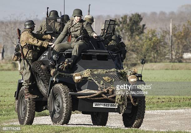 German Wehrmacht soldiers on an Sdkfz 222 armored car Second World War 20th century Historical reenactment