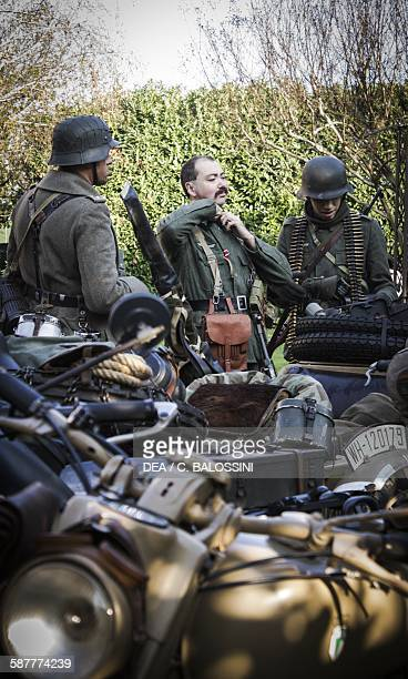 German Wehrmacht unit preparing to move out Second World War 20th century Historical reenactment
